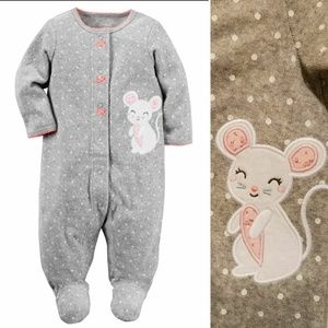 Little Mouse Terry Footie Pajamas